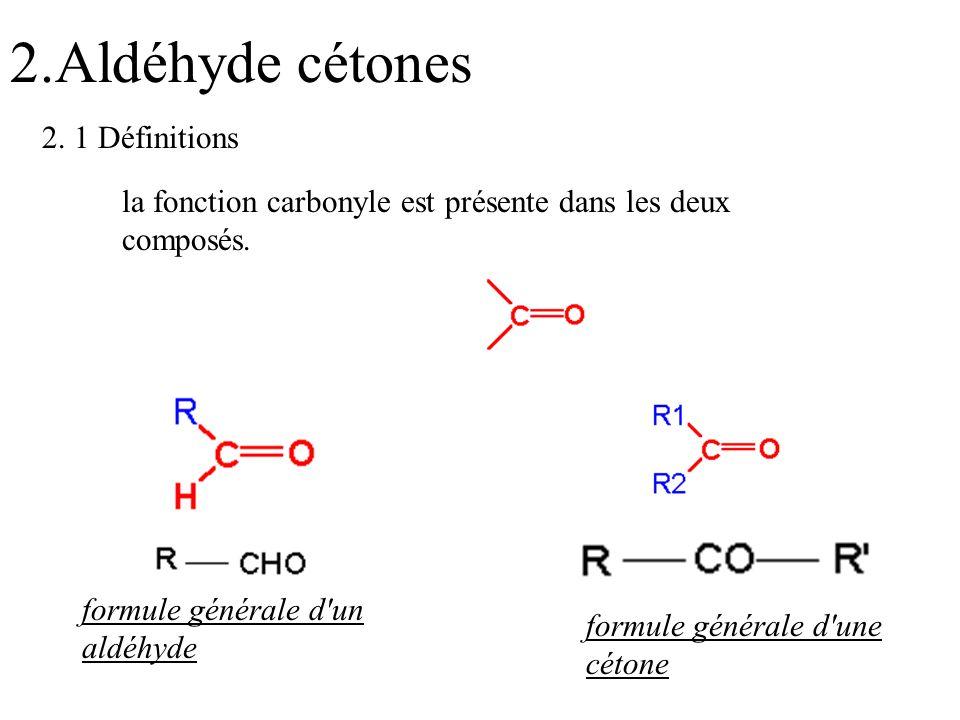 2.Aldéhyde cétones la fonction carbonyle est présente dans les deux composés. formule générale d'un aldéhyde formule générale d'une cétone 2. 1 Défini