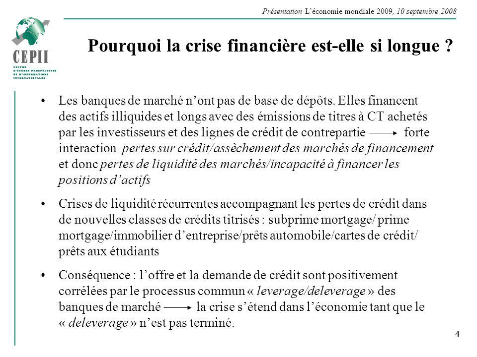 Présentation Léconomie mondiale 2009, 10 septembre 2008 4 Pourquoi la crise financière est-elle si longue ? Les banques de marché nont pas de base de