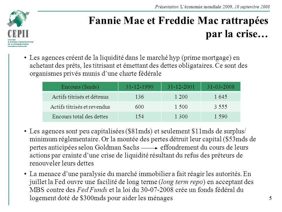 Présentation Léconomie mondiale 2009, 10 septembre 2008 5 Fannie Mae et Freddie Mac rattrapées par la crise… Les agences créent de la liquidité dans l