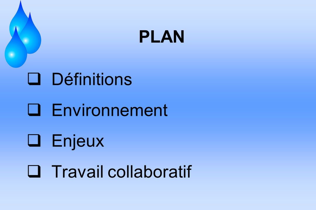 PLAN Définitions Environnement Enjeux Travail collaboratif