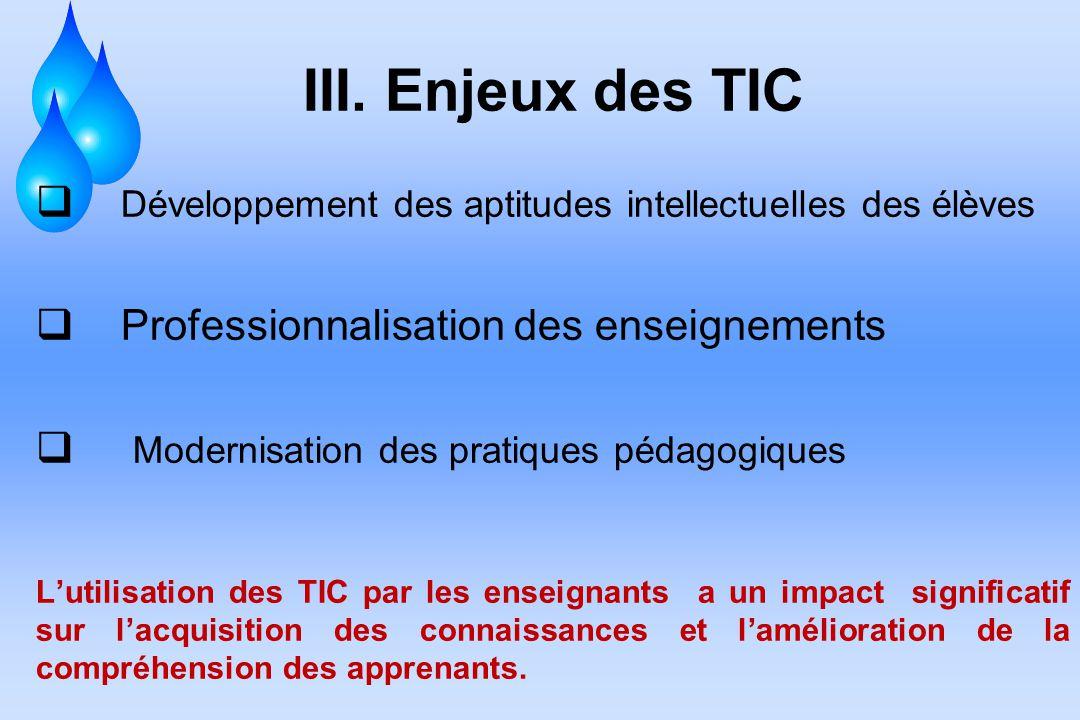 III. Enjeux des TIC Développement des aptitudes intellectuelles des élèves Professionnalisation des enseignements Modernisation des pratiques pédagogi