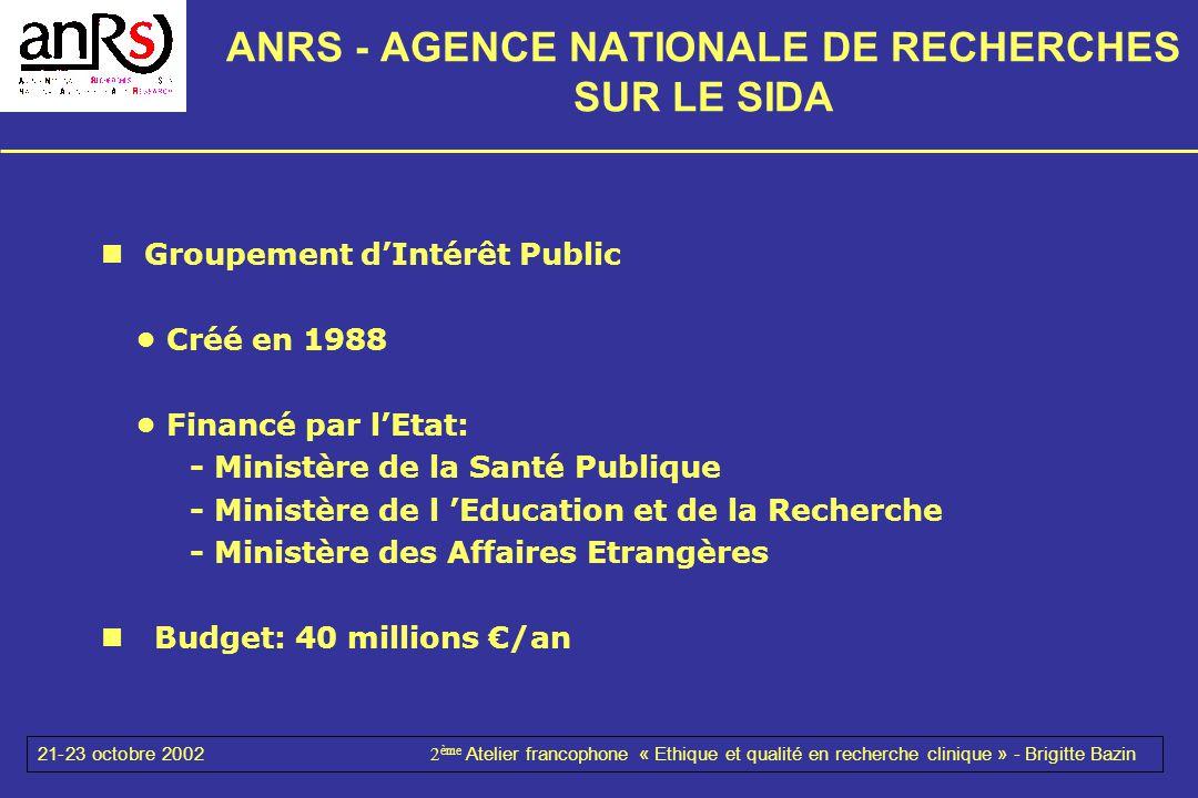 21-23 octobre 20022 ème Atelier francophone « Ethique et qualité en recherche clinique » - Brigitte Bazin ANRS - AGENCE NATIONALE DE RECHERCHES SUR LE