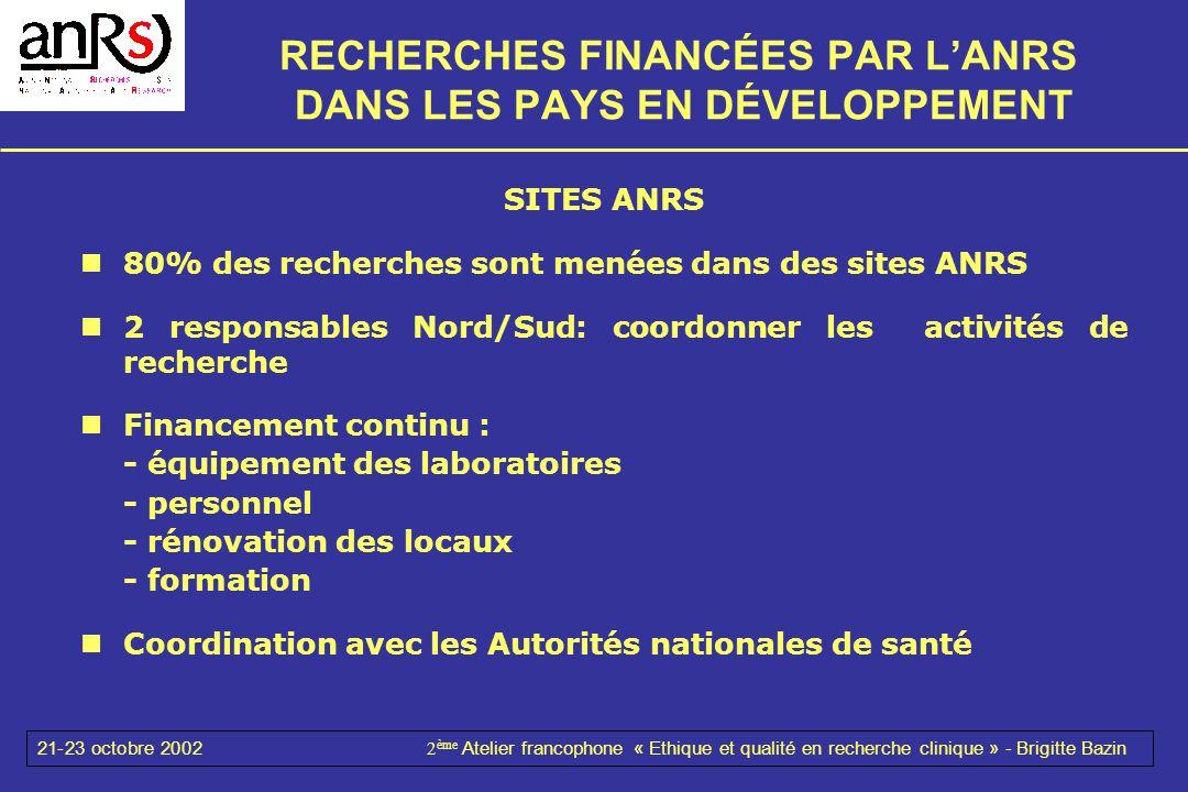21-23 octobre 20022 ème Atelier francophone « Ethique et qualité en recherche clinique » - Brigitte Bazin RECHERCHES FINANCÉES PAR LANRS DANS LES PAYS