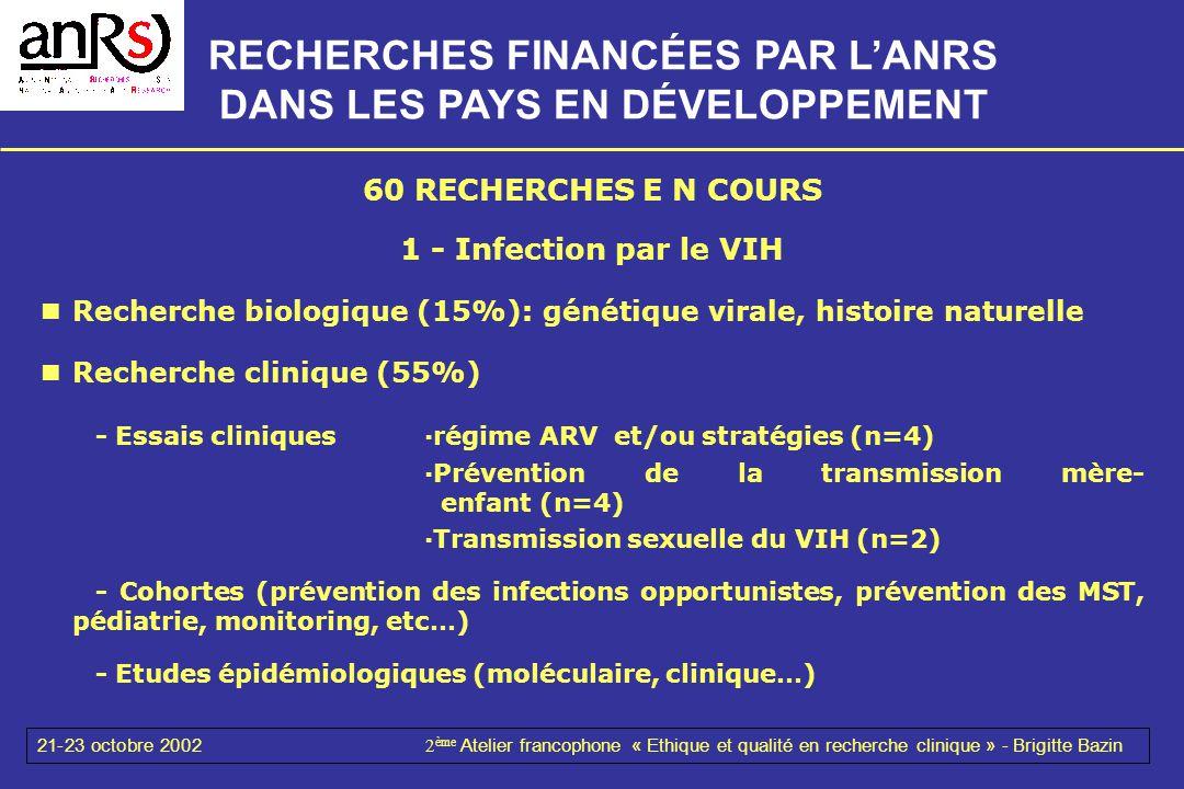 21-23 octobre 20022 ème Atelier francophone « Ethique et qualité en recherche clinique » - Brigitte Bazin 60 RECHERCHES E N COURS 1 - Infection par le
