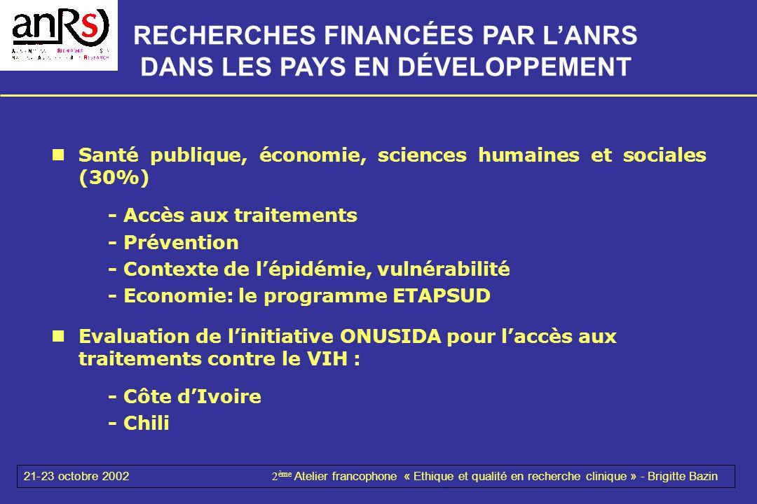 21-23 octobre 20022 ème Atelier francophone « Ethique et qualité en recherche clinique » - Brigitte Bazin Santé publique, économie, sciences humaines