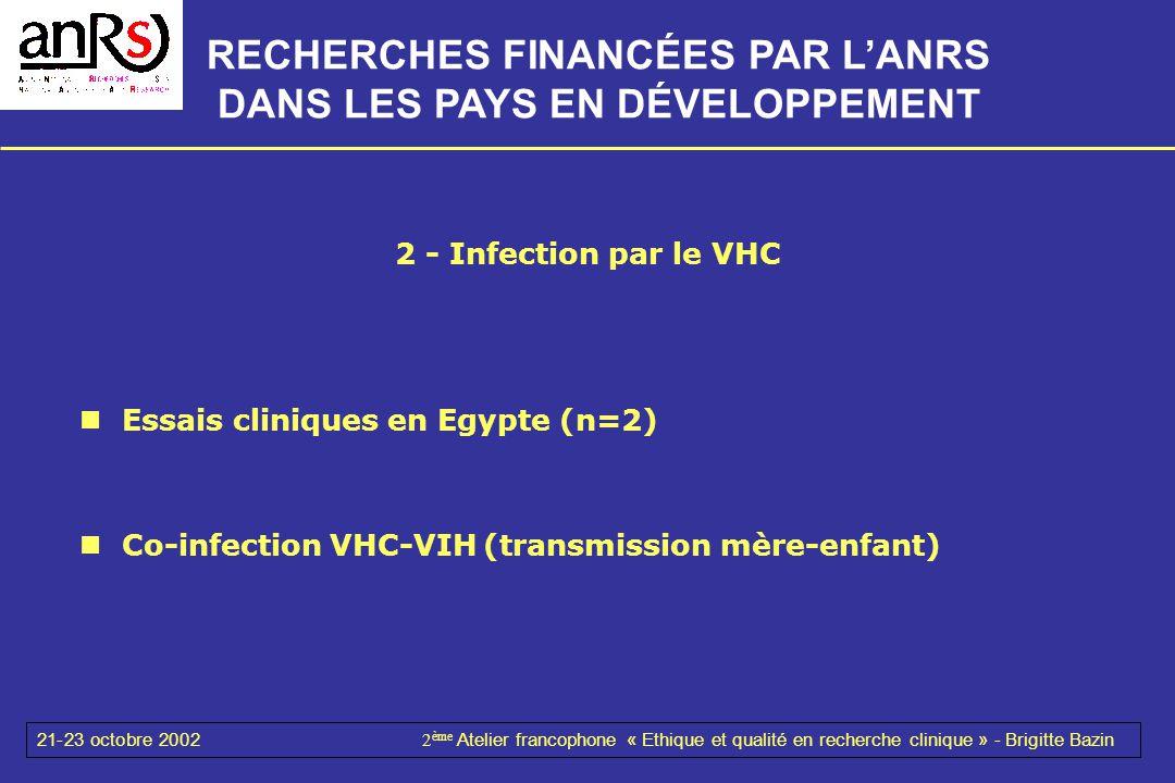 21-23 octobre 20022 ème Atelier francophone « Ethique et qualité en recherche clinique » - Brigitte Bazin 2 - Infection par le VHC Essais cliniques en