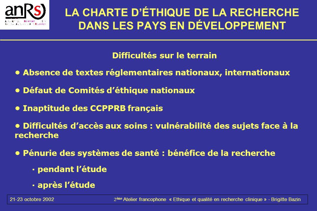 21-23 octobre 20022 ème Atelier francophone « Ethique et qualité en recherche clinique » - Brigitte Bazin LA CHARTE DÉTHIQUE DE LA RECHERCHE DANS LES