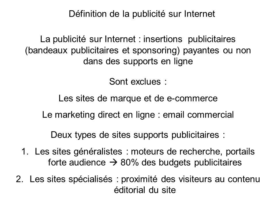 La publicité sur Internet : insertions publicitaires (bandeaux publicitaires et sponsoring) payantes ou non dans des supports en ligne Sont exclues :
