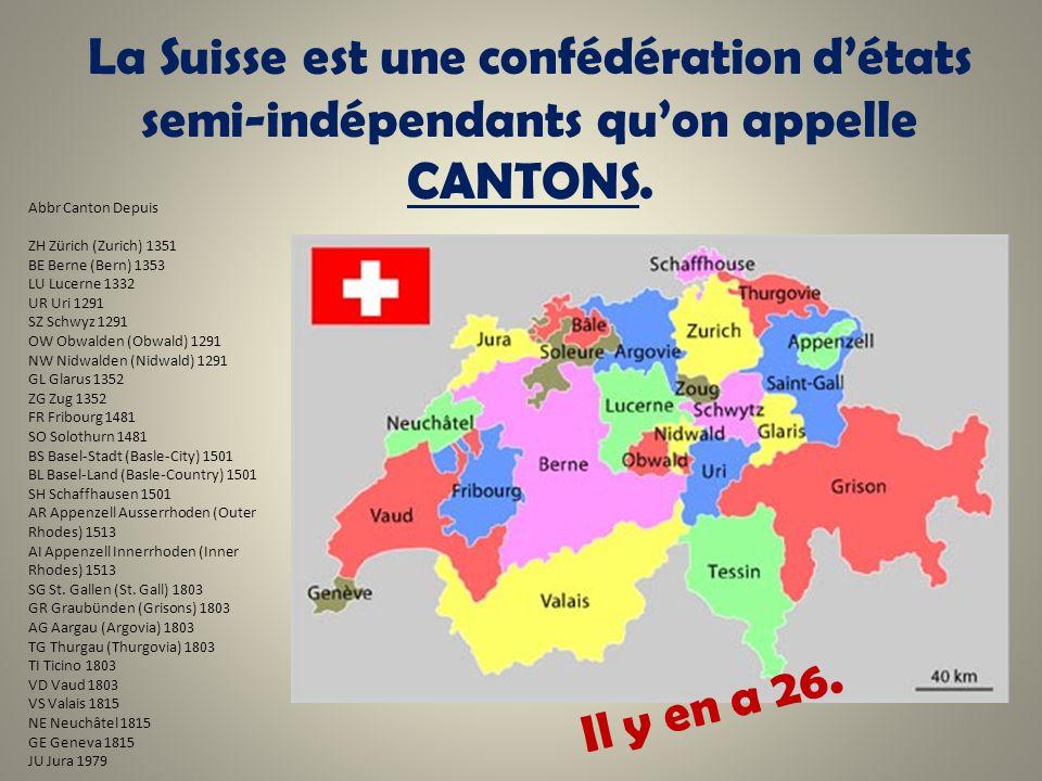 La Suisse est une confédération détats semi-indépendants quon appelle CANTONS. Abbr Canton Depuis ZH Zürich (Zurich) 1351 BE Berne (Bern) 1353 LU Luce
