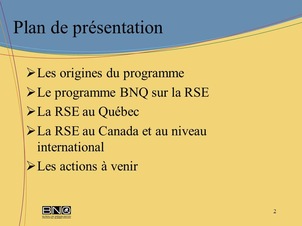 2 Plan de présentation Les origines du programme Le programme BNQ sur la RSE La RSE au Québec La RSE au Canada et au niveau international Les actions à venir