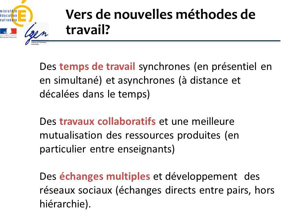Des temps de travail synchrones (en présentiel en en simultané) et asynchrones (à distance et décalées dans le temps) Des travaux collaboratifs et une