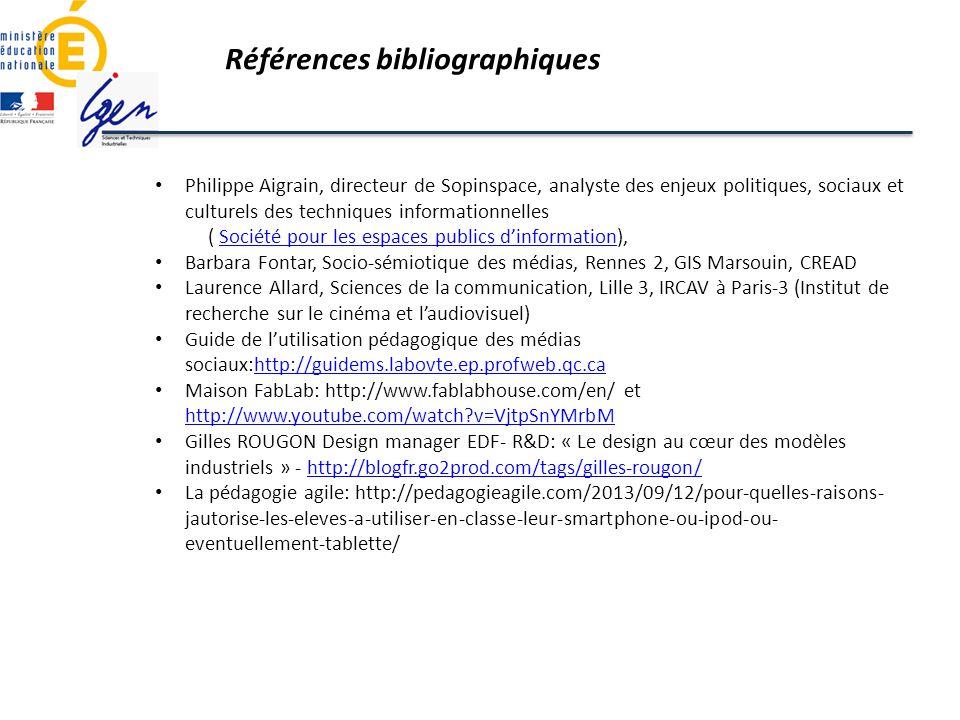 Références bibliographiques Philippe Aigrain, directeur de Sopinspace, analyste des enjeux politiques, sociaux et culturels des techniques information