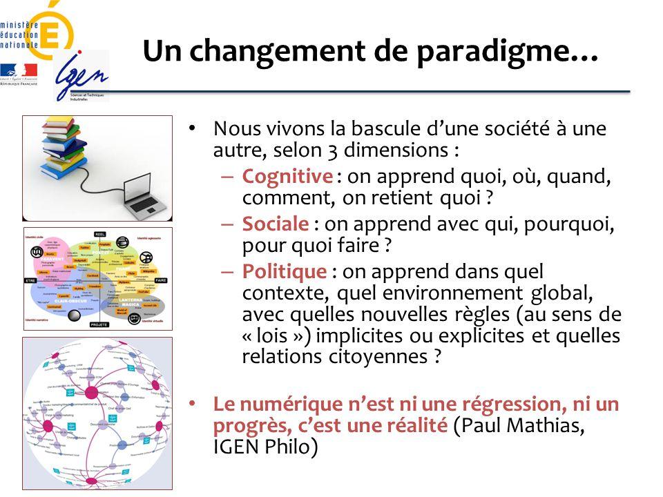 Un changement de paradigme… Nous vivons la bascule dune société à une autre, selon 3 dimensions : – Cognitive : on apprend quoi, où, quand, comment, o