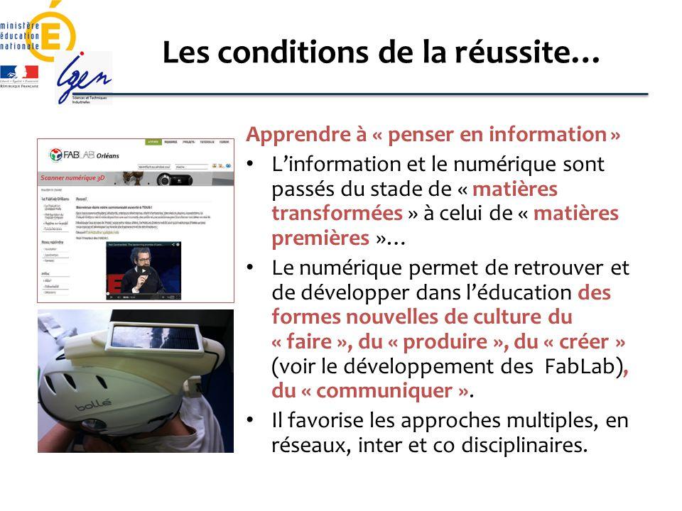Les conditions de la réussite… Apprendre à « penser en information » Linformation et le numérique sont passés du stade de « matières transformées » à