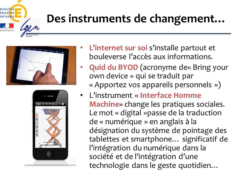 Des instruments de changement… Linternet sur soi sinstalle partout et bouleverse laccès aux informations. Quid du BYOD (acronyme de« Bring your own de