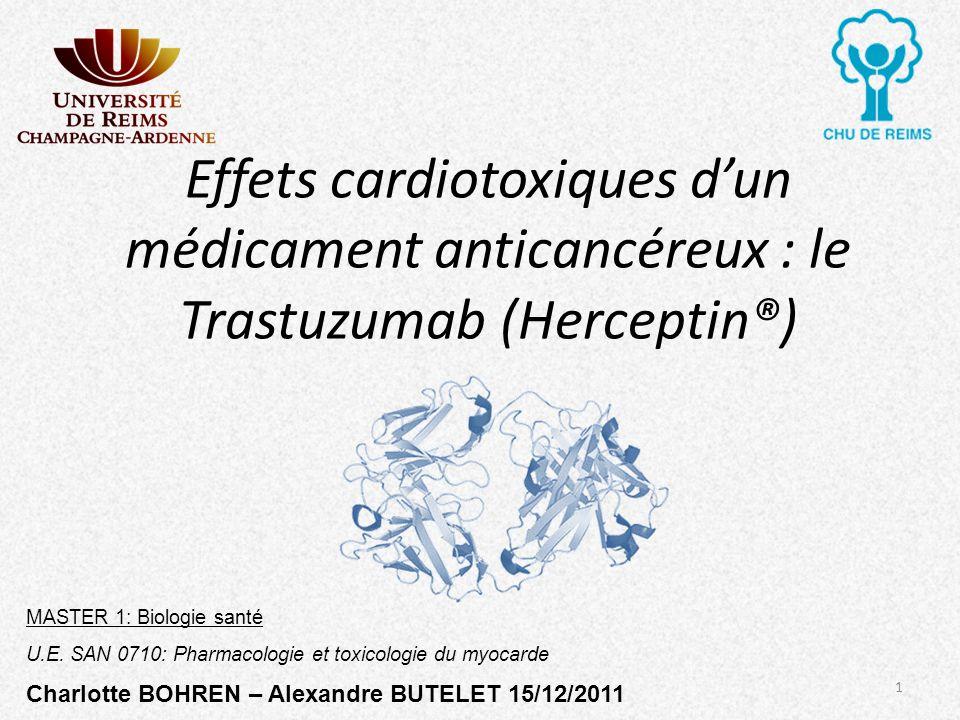 Effets cardiotoxiques dun médicament anticancéreux : le Trastuzumab (Herceptin®) MASTER 1: Biologie santé U.E. SAN 0710: Pharmacologie et toxicologie