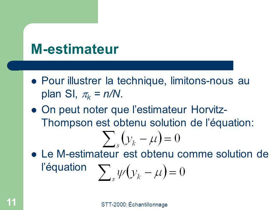 STT-2000; Échantillonnage 11 M-estimateur Pour illustrer la technique, limitons-nous au plan SI, k = n/N. On peut noter que lestimateur Horvitz- Thomp