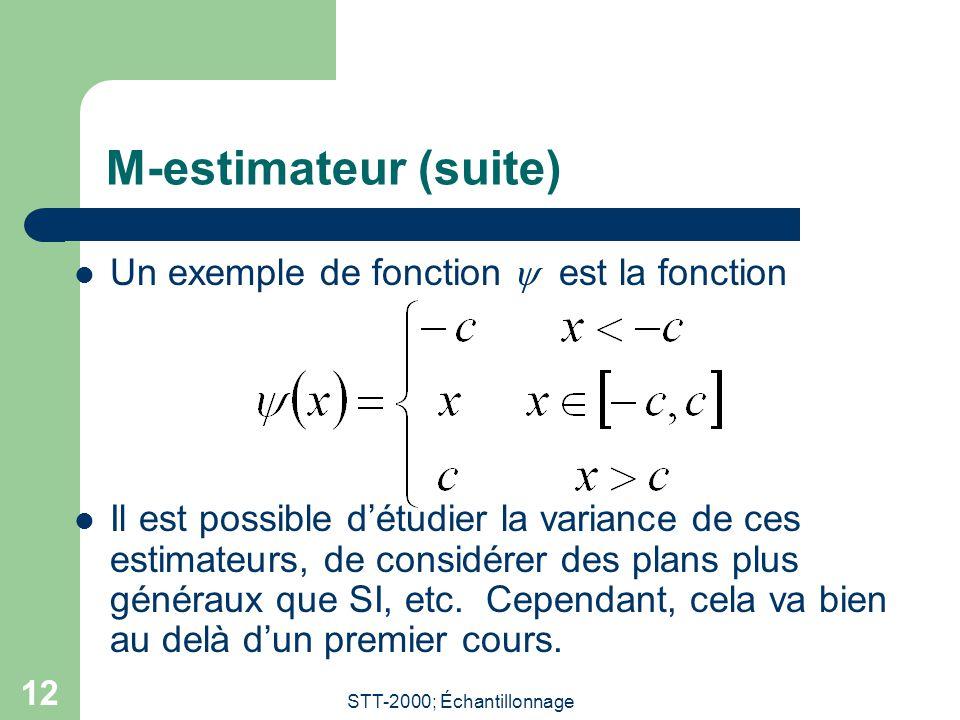STT-2000; Échantillonnage 12 M-estimateur (suite) Un exemple de fonction est la fonction Il est possible détudier la variance de ces estimateurs, de considérer des plans plus généraux que SI, etc.