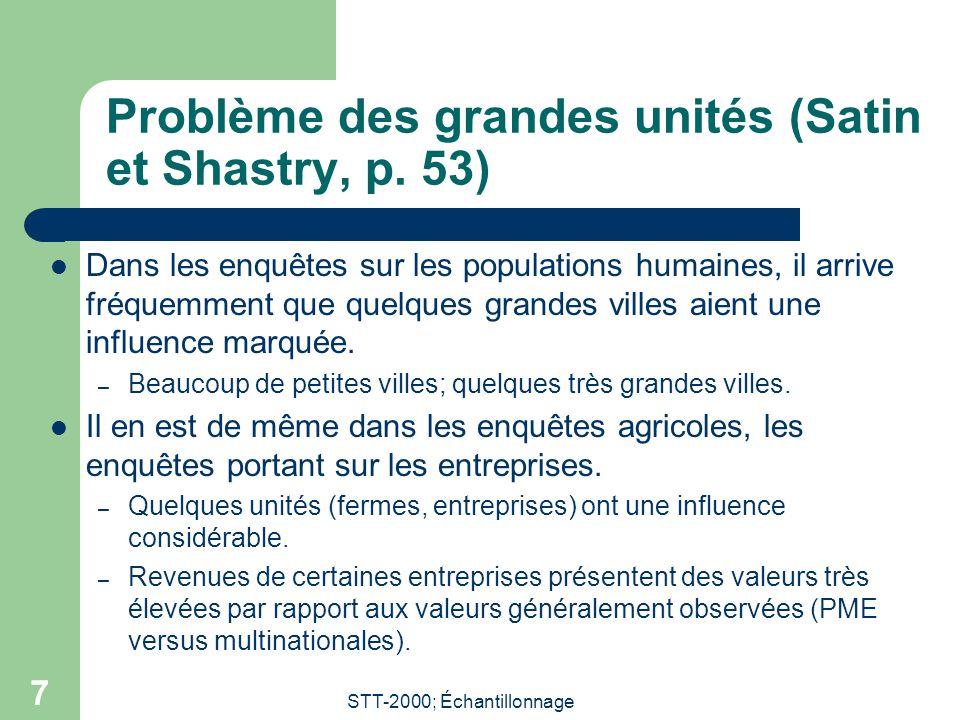 STT-2000; Échantillonnage 7 Problème des grandes unités (Satin et Shastry, p. 53) Dans les enquêtes sur les populations humaines, il arrive fréquemmen