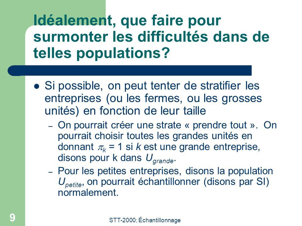 STT-2000; Échantillonnage 9 Idéalement, que faire pour surmonter les difficultés dans de telles populations? Si possible, on peut tenter de stratifier