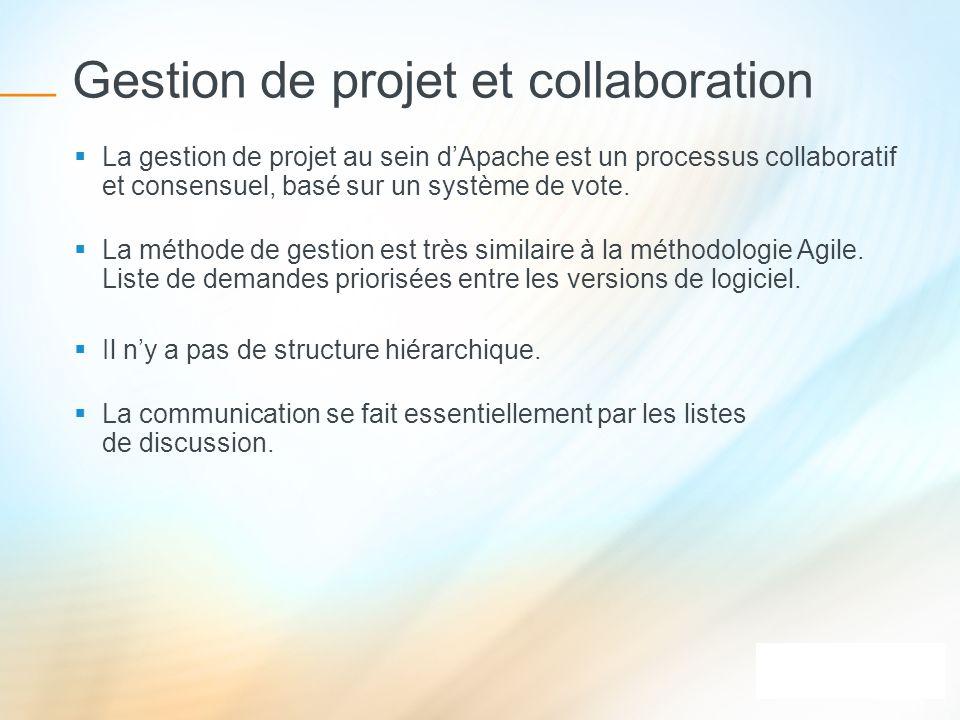 Gestion de projet et collaboration La gestion de projet au sein dApache est un processus collaboratif et consensuel, basé sur un système de vote. La m