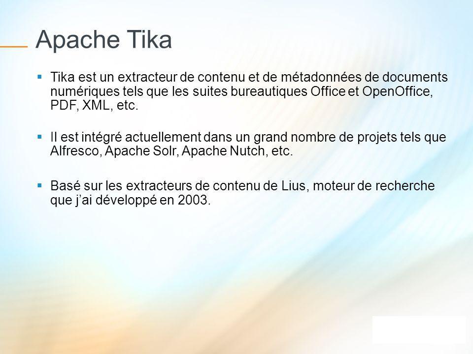 Apache Tika Tika est un extracteur de contenu et de métadonnées de documents numériques tels que les suites bureautiques Office et OpenOffice, PDF, XM