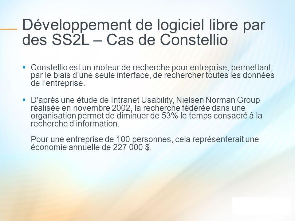 Développement de logiciel libre par des SS2L – Cas de Constellio Constellio est un moteur de recherche pour entreprise, permettant, par le biais dune