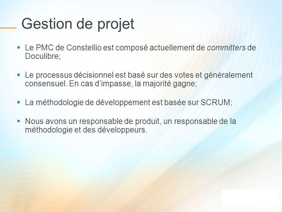 Gestion de projet Le PMC de Constellio est composé actuellement de committers de Doculibre; Le processus décisionnel est basé sur des votes et général