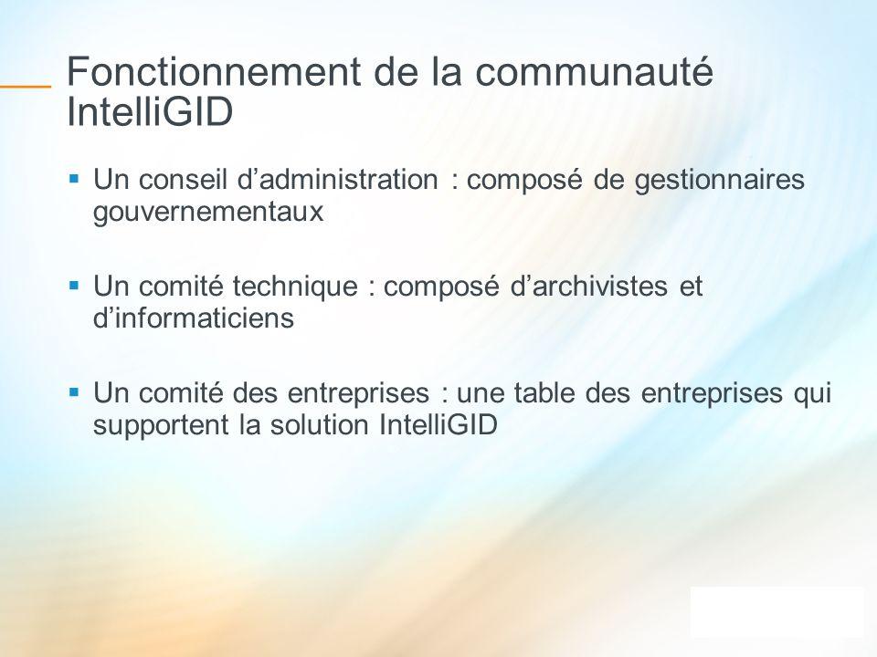 Fonctionnement de la communauté IntelliGID Un conseil dadministration : composé de gestionnaires gouvernementaux Un comité technique : composé darchiv