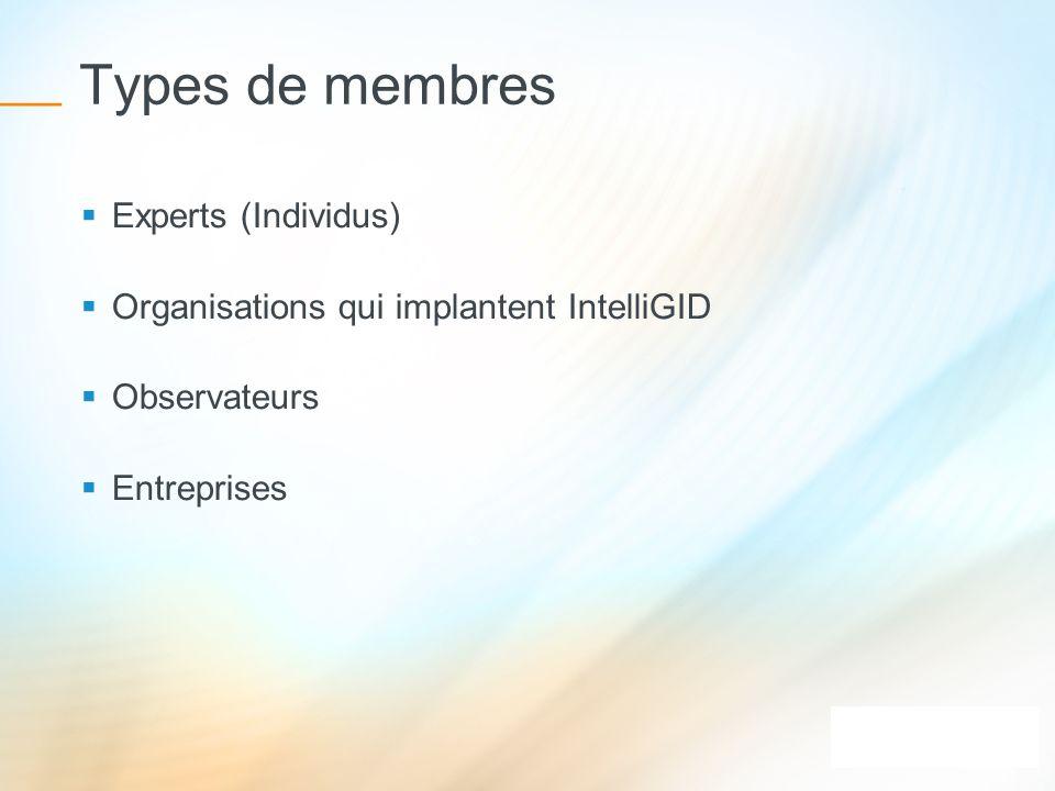 Types de membres Experts (Individus) Organisations qui implantent IntelliGID Observateurs Entreprises