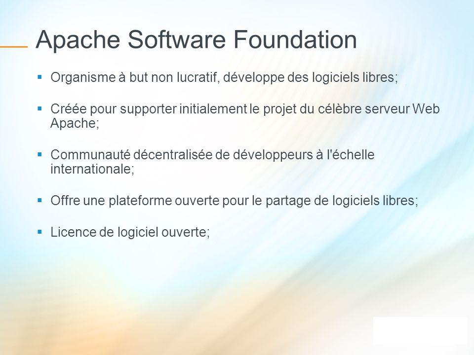 Apache Software Foundation Organisme à but non lucratif, développe des logiciels libres; Créée pour supporter initialement le projet du célèbre serveu