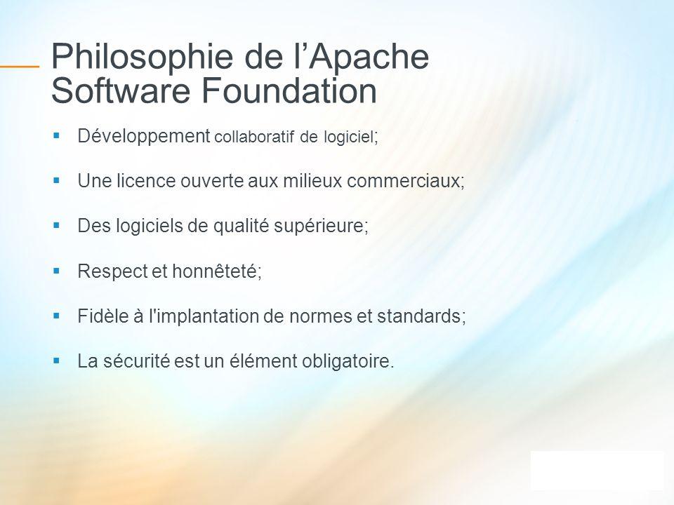 Philosophie de lApache Software Foundation Développement collaboratif de logiciel ; Une licence ouverte aux milieux commerciaux; Des logiciels de qual