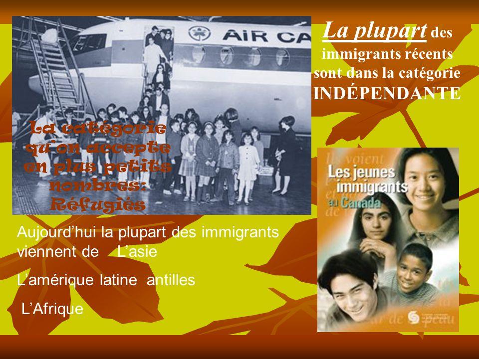 Aujourdhui la plupart des immigrants viennent de Lasie Lamérique latine antilles LAfrique La plupart des immigrants récents sont dans la catégorie INDÉPENDANTE La catégorie quon accepte en plus petits nombres: Réfugiés