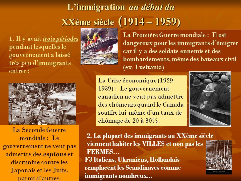 Limmigration au début du XXème siècle ( 1914 – 1959) 1.