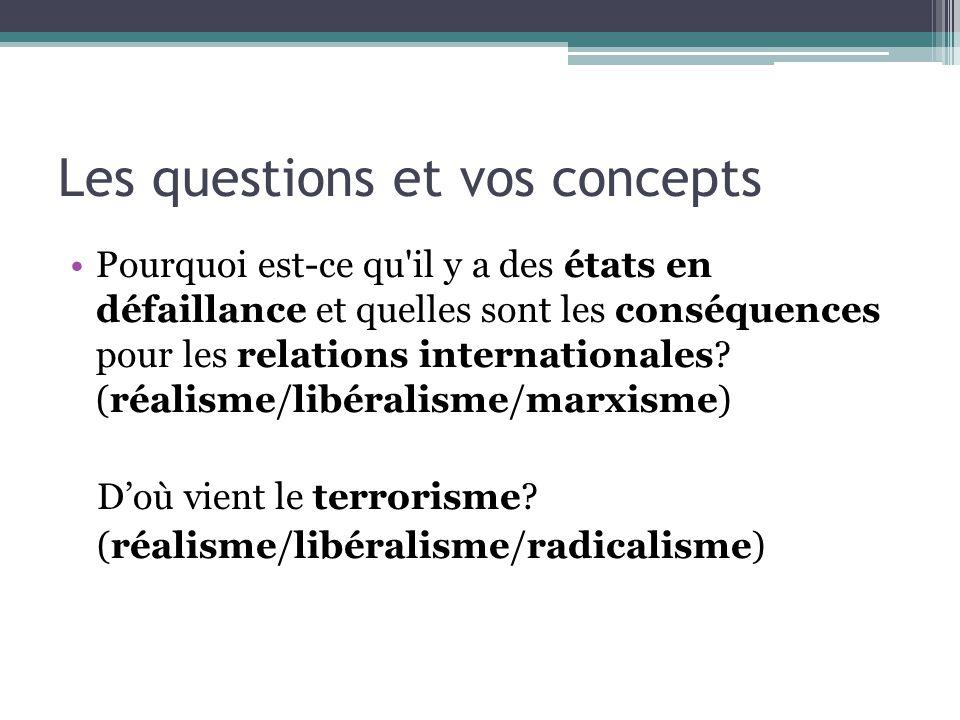 Les questions et vos concepts Pourquoi est-ce qu il y a des états en défaillance et quelles sont les conséquences pour les relations internationales.