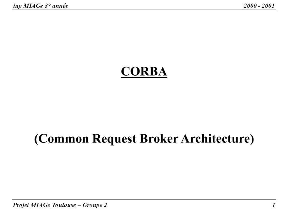 (Common Request Broker Architecture) iup MIAGe 3° année2000 - 2001 Projet MIAGe Toulouse – Groupe 21 CORBA