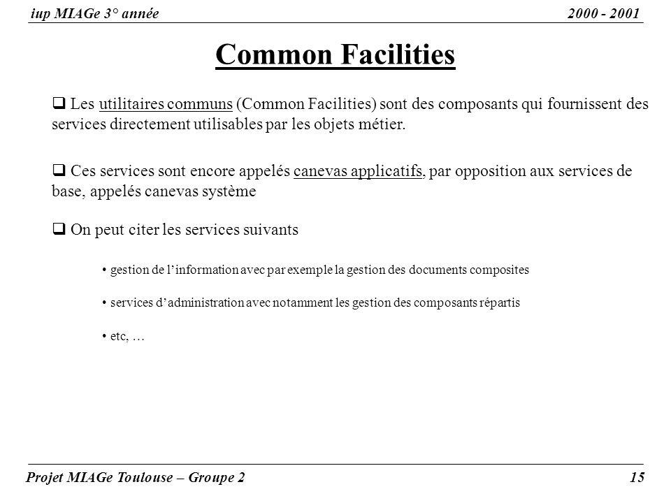 Common Facilities iup MIAGe 3° année2000 - 2001 Projet MIAGe Toulouse – Groupe 215 Les utilitaires communs (Common Facilities) sont des composants qui fournissent des services directement utilisables par les objets métier.