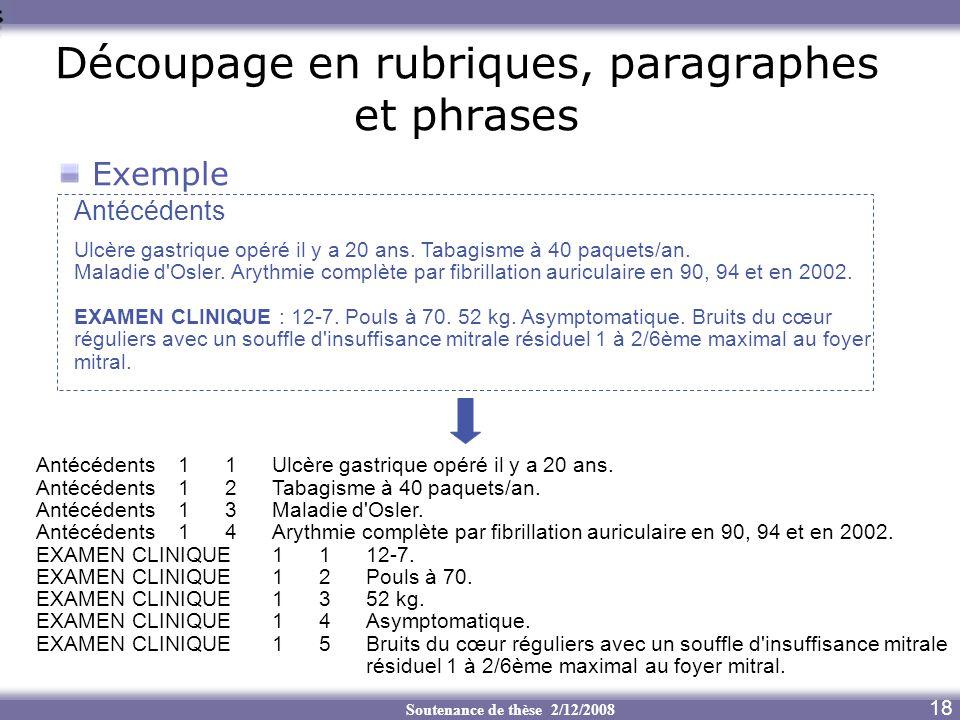 Soutenance de thèse 2/12/2008 Découpage en rubriques, paragraphes et phrases 18 Exemple Antécédents11Ulcère gastrique opéré il y a 20 ans. Antécédents