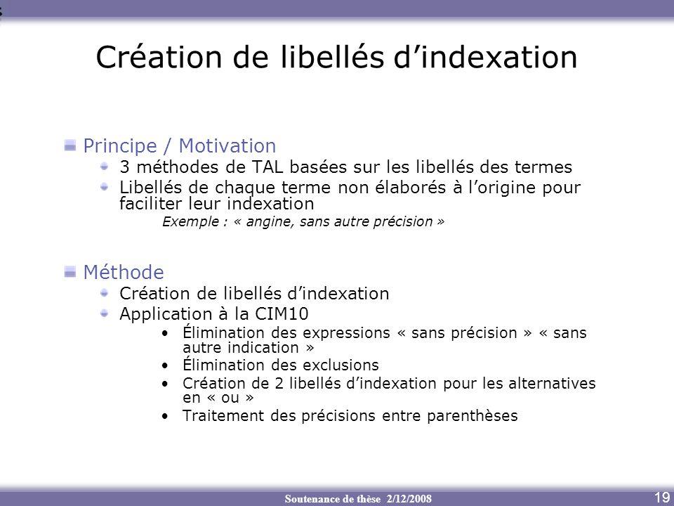 Soutenance de thèse 2/12/2008 Création de libellés dindexation Principe / Motivation 3 méthodes de TAL basées sur les libellés des termes Libellés de