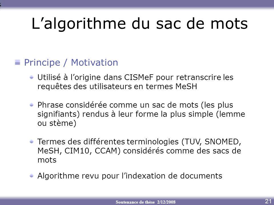 Soutenance de thèse 2/12/2008 Lalgorithme du sac de mots 21 Principe / Motivation Utilisé à lorigine dans CISMeF pour retranscrire les requêtes des ut