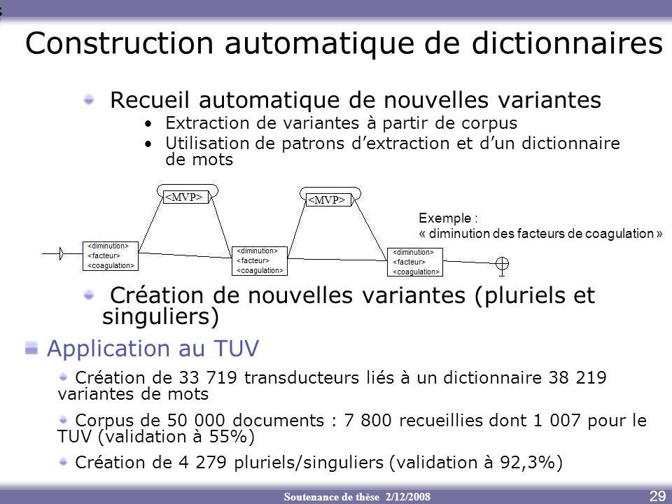 Soutenance de thèse 2/12/2008 7 Construction automatique de dictionnaires Recueil automatique de nouvelles variantes Extraction de variantes à partir