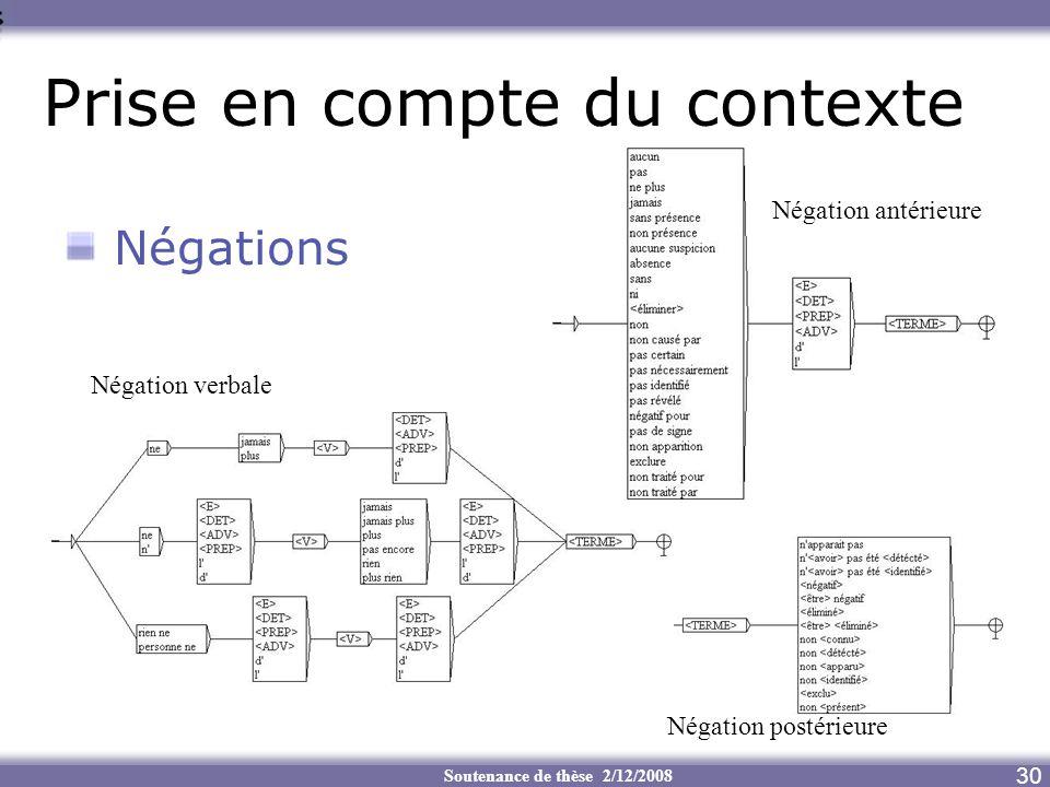 Soutenance de thèse 2/12/2008 Prise en compte du contexte 30 Négations Négation verbale Négation postérieure Négation antérieure