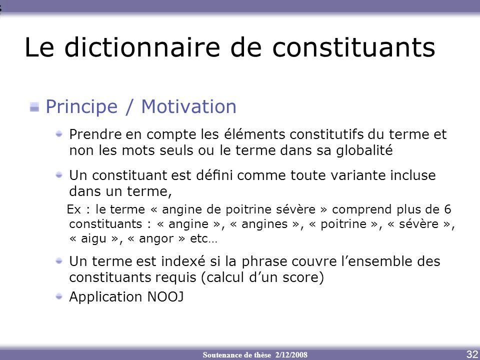 Soutenance de thèse 2/12/2008 Le dictionnaire de constituants 32 Principe / Motivation Prendre en compte les éléments constitutifs du terme et non les