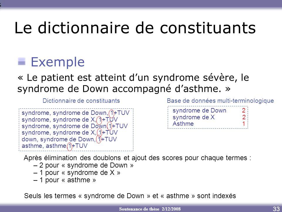 Soutenance de thèse 2/12/2008 Le dictionnaire de constituants 33 Exemple « Le patient est atteint dun syndrome sévère, le syndrome de Down accompagné