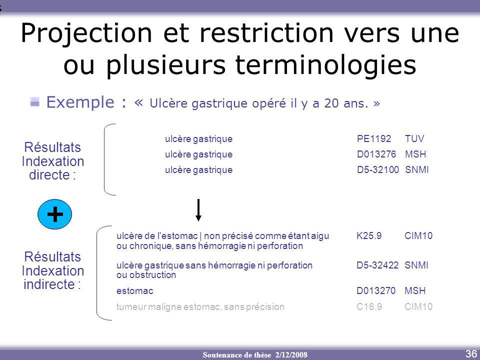 Soutenance de thèse 2/12/2008 Projection et restriction vers une ou plusieurs terminologies Exemple : « Ulcère gastrique opéré il y a 20 ans. » ulcère