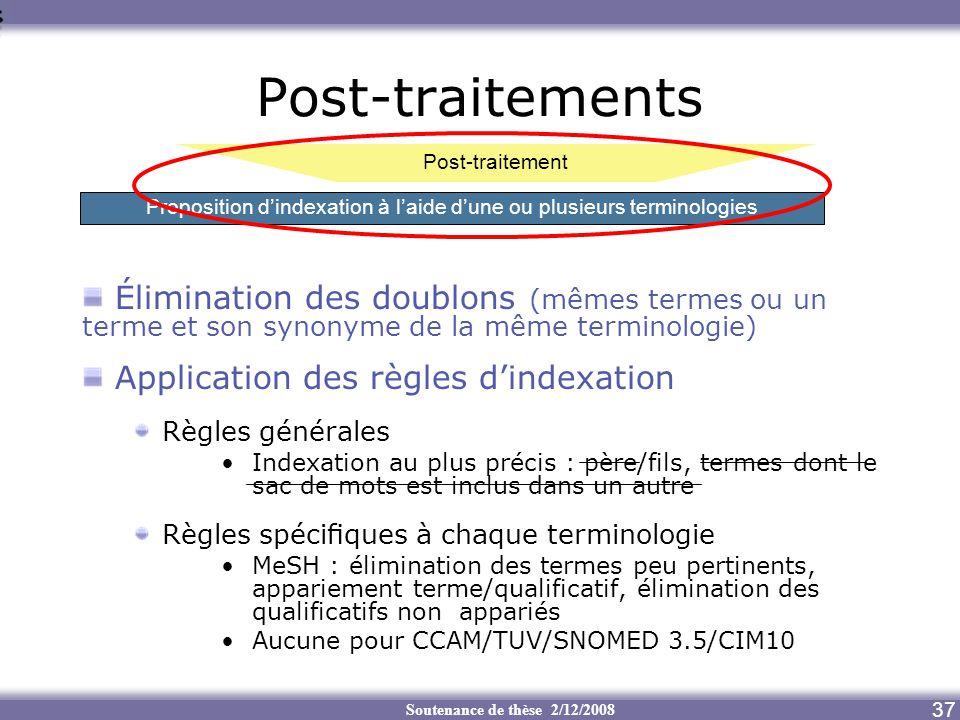Soutenance de thèse 2/12/2008 37 Post-traitements Élimination des doublons (mêmes termes ou un terme et son synonyme de la même terminologie) Applicat