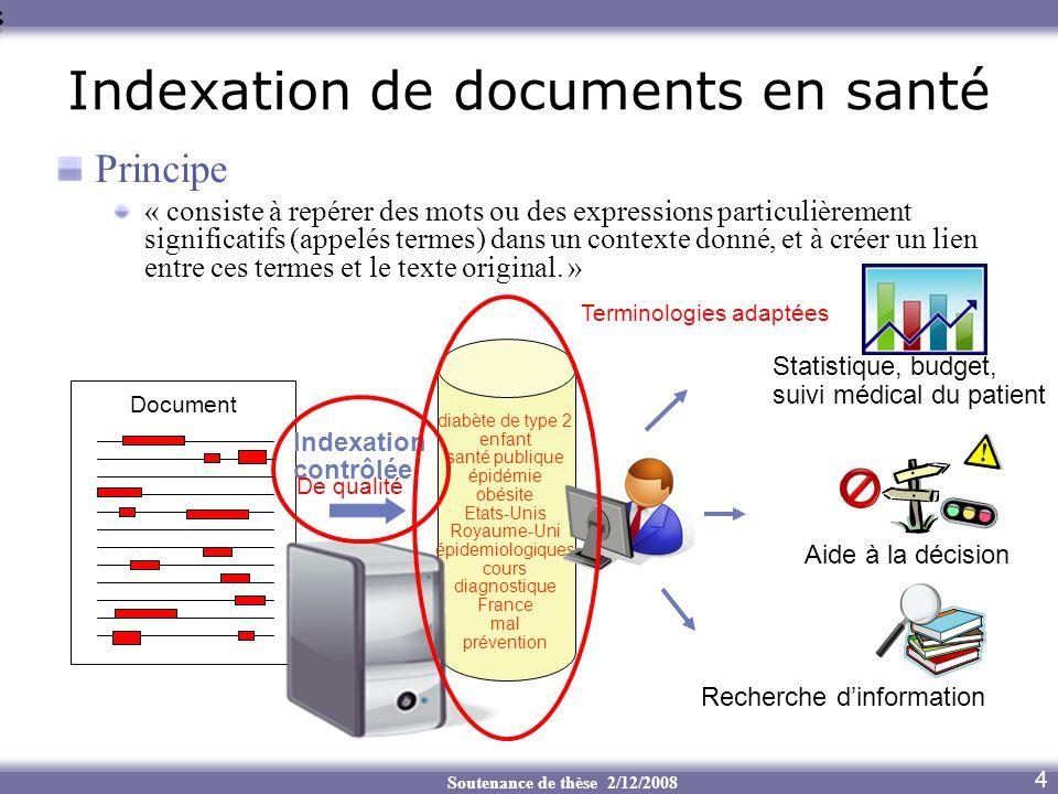 Soutenance de thèse 2/12/2008 Principe « consiste à repérer des mots ou des expressions particulièrement significatifs (appelés termes) dans un contex