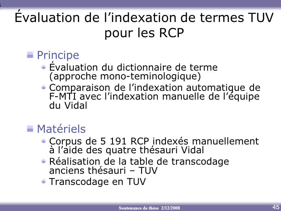 Soutenance de thèse 2/12/2008 Évaluation de lindexation de termes TUV pour les RCP Principe Évaluation du dictionnaire de terme (approche mono-teminol