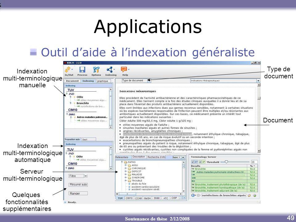Soutenance de thèse 2/12/2008 Applications Outil daide à lindexation généraliste 49 Serveur multi-terminologique Indexation multi-terminologique manue