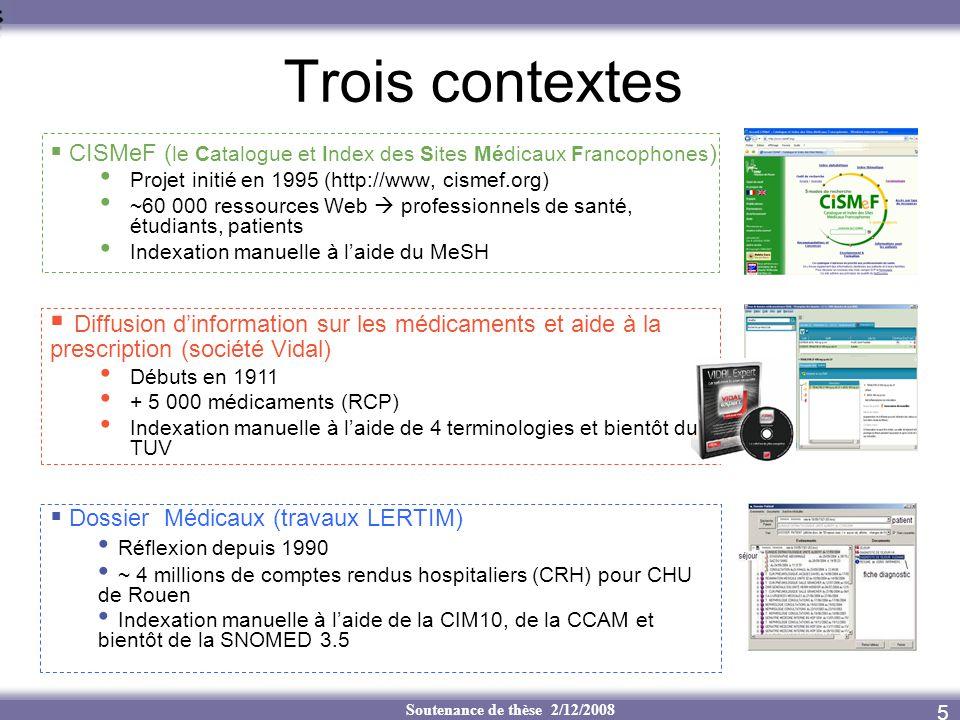 Soutenance de thèse 2/12/2008 Trois contextes CISMeF ( le Catalogue et Index des Sites Médicaux Francophones ) Projet initié en 1995 (http://www, cism